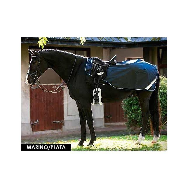 Manta riñonera para caballo Amigo de competición marino plata
