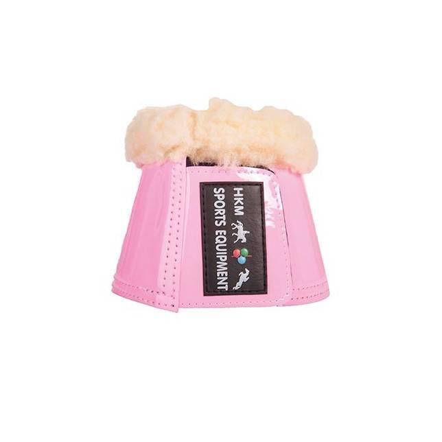 Campana para caballo borreguillo y charol Comfort Lack HKM rosa