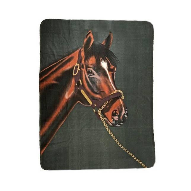 Colcha para cama con dibujo de caballo con fondo verde