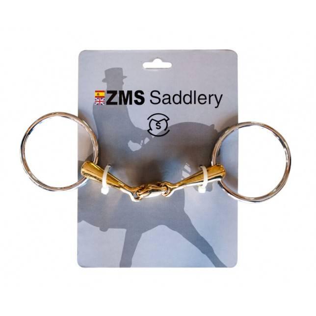 Filete de tres piezas para caballo con anilla de 70 mm