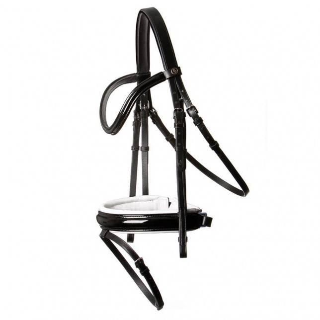 Cabezada de filete para caballo BR Kingston en charol negro y blanco