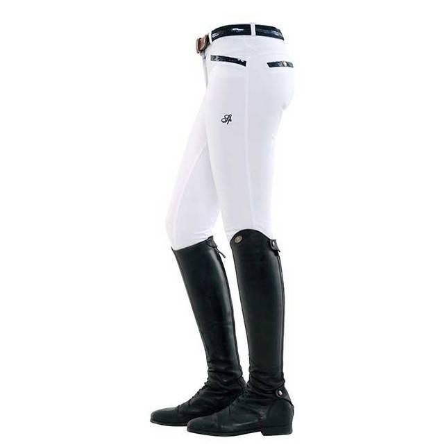 Pantalon de mujer para montar a caballo Ricarda full grip sequin blanco lateral