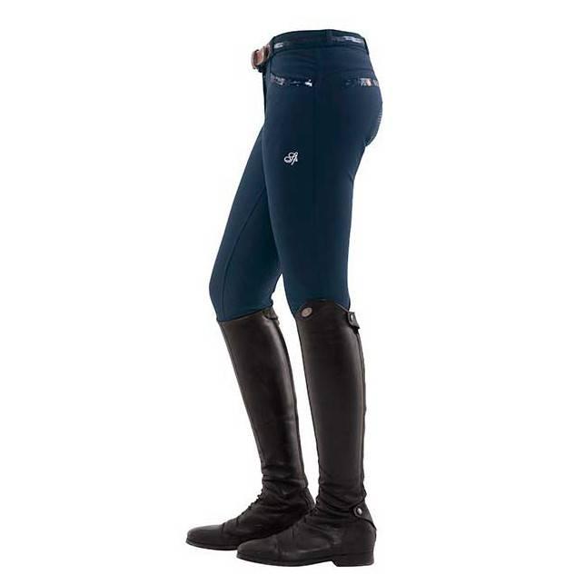 Pantalon de mujer para montar a caballo Ricarda full grip sequin azul lateral