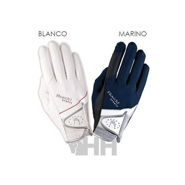 guante roeckl 3301-249 blanco y marino