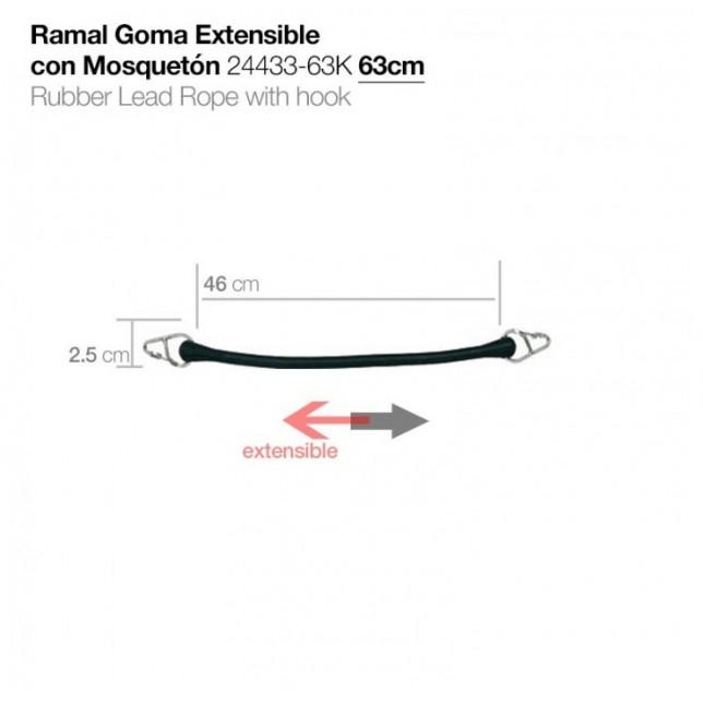 RAMAL GOMA EXTENSIBLE CON MOSQUETÓN 24433-63K 63cm ZALDI