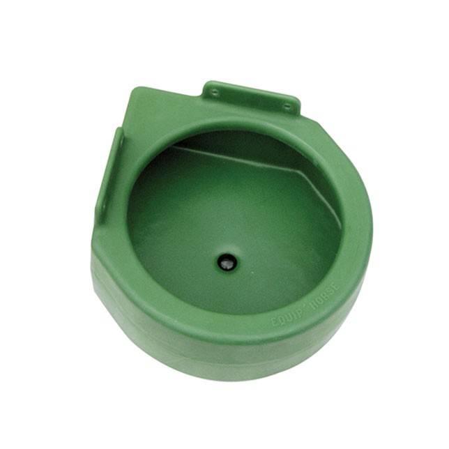 Comedero para esquina Equip´horse, redondo con desagüe, en plástico verde.