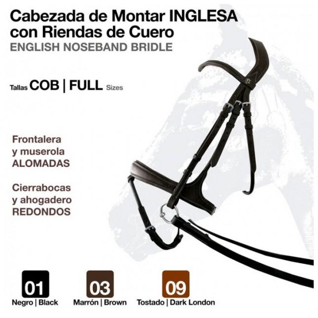 CABEZADA MONTAR INGLESA RIENDA CUERO