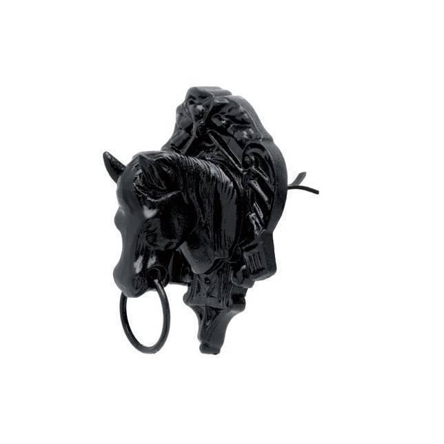 Amarre pared Roldán cabeza caballo con escudo negro